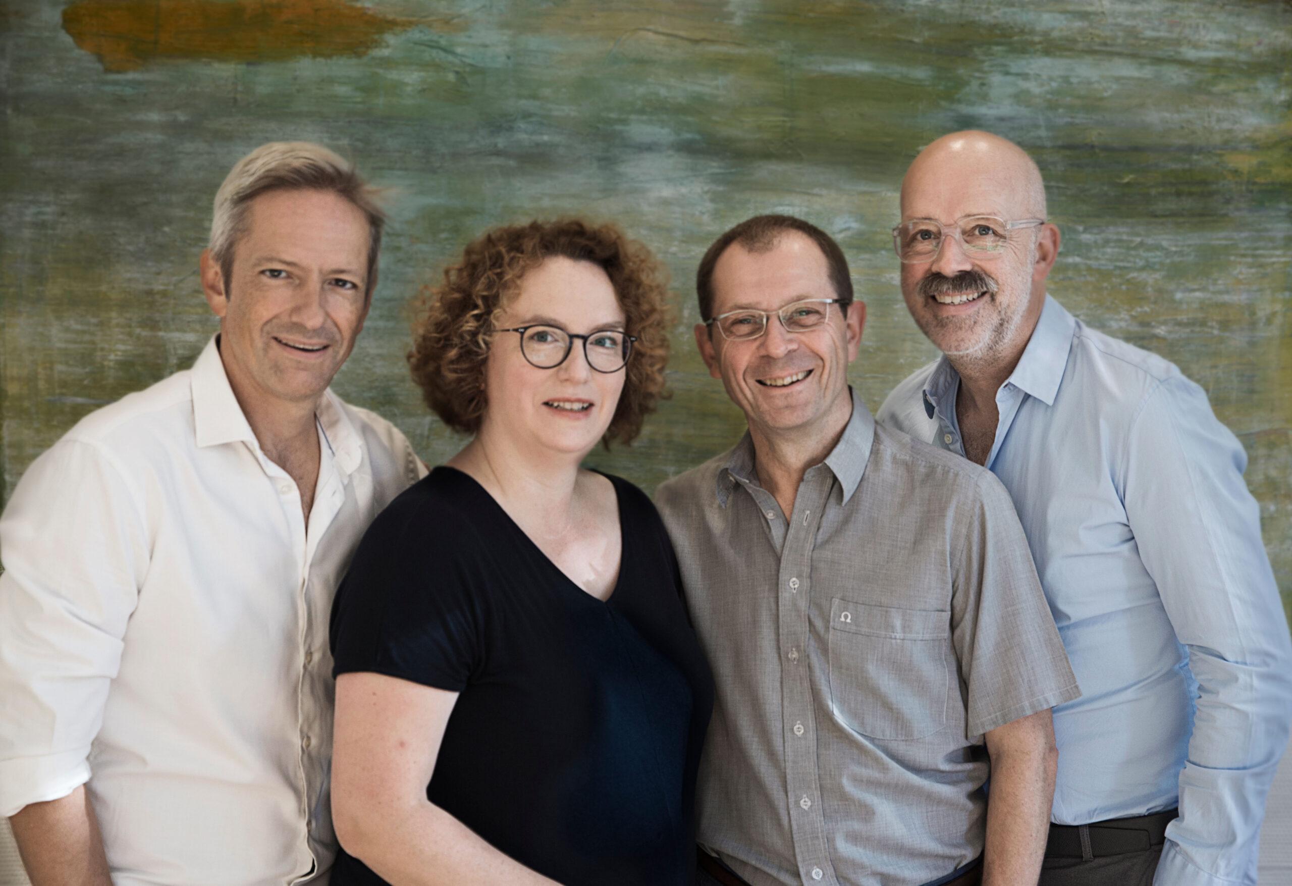 Die vier Neurologen der NFZB Dr. Gregor Scherzinger; Dr. Heike Israel-Willner, Dr. Klaus Tiel-Wilck, Dr. Jörg Osterhage